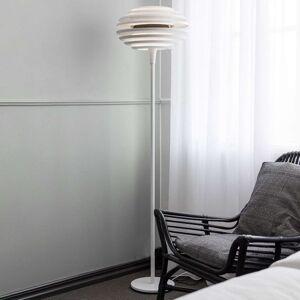 Stojací lampa Ellipse se stmívačem, bílá/chrom
