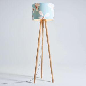 Dřevěná stojací lampa Sten Flower, stínidlo textil