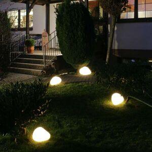 Svítící kameny s gumovou přípojkou bílé 40 cm