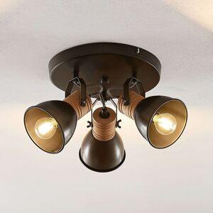 Lindby Arina stropní světlo, kulatý, dřevo, 3žár.