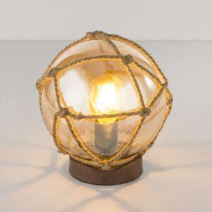 Skleněná stolní lampa Tiko s konopnou sítí, rezavá