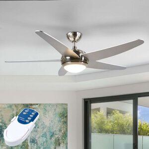 Anneka– stříbrný stropní ventilátor sLED světlem
