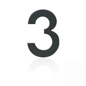 Nerezová domovní čísla číslice 3, grafit šedý