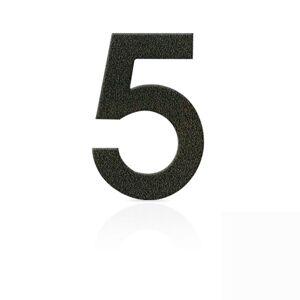 Nerezová domovní čísla číslice 5, hnědá mocca