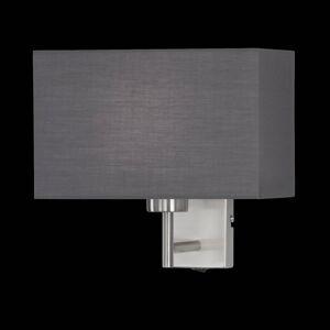 FISCHER & HONSEL Nástěnné světlo Kempten s šedým látkovým stínidlem