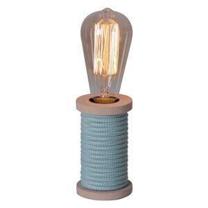 Stolní lampa Max s dřevěnou nohou modrá