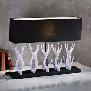 Stolní lampa Marlies s dřevěnou základnou 80cm