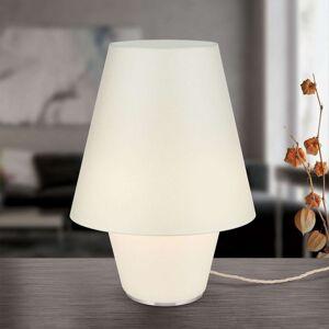 Textilní stolní lampa Zwillinge krémová Ø 32 cm