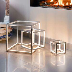 Delux - stolní lampa LED krychle, hliník