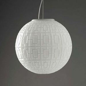 Bílé závěsné světlo Ball s grafickým vzorem
