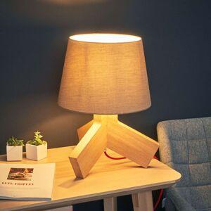 S červeným kabelem - dřevěná stolní lampa Tilda