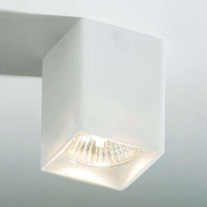 Hranaté stropní světlo QUADRO z bílého skla