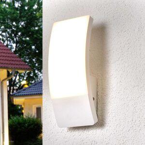 Bílá venkovní nástěnná LED lampa v klenutém tvaru