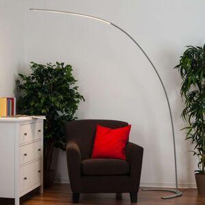 Stojací LED lampa Danua, stříbrná, klenutá
