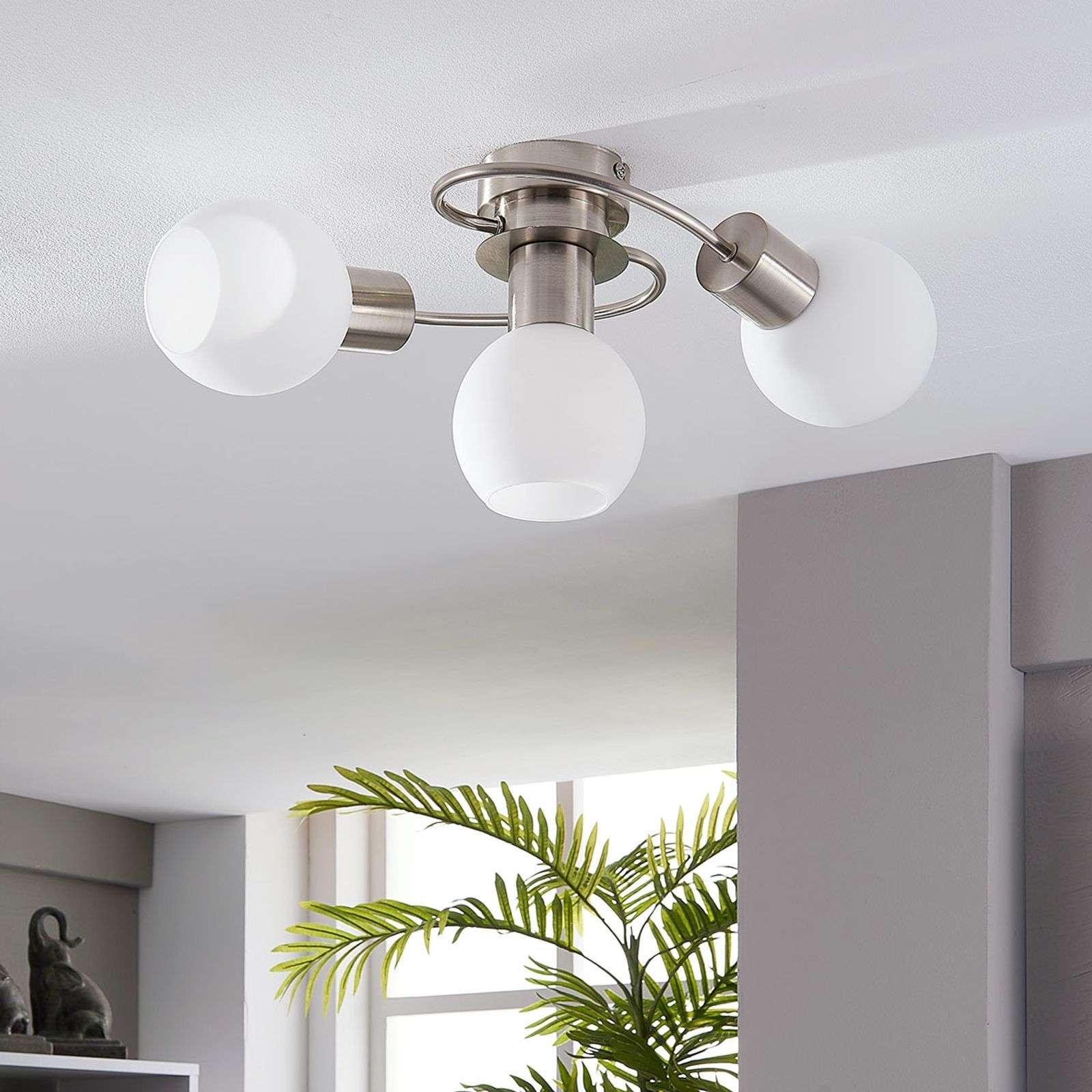 Lindby LED stropní světlo Ciala, 3bodové, nikl