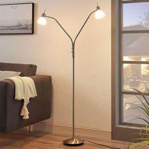Stojací LED lampa Gwendolin, niklová, 2bodová