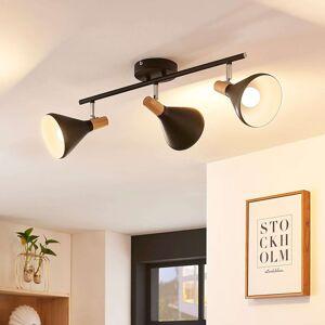 Lindby Stropní LED lampa Arina, černá, 3bodová dlouhá