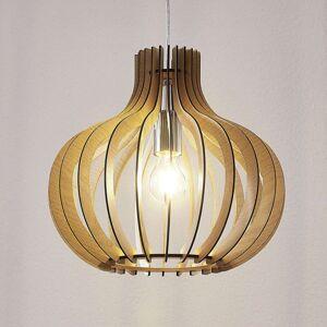 Dřevěné závěsné světlo Sina ve tvaru balónu světlé