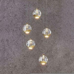 LED závěsné světlo Hayley, 5zdrojové, kulaté zlaté