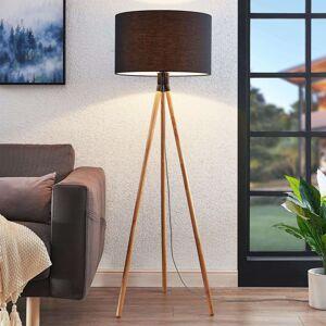 Trojnohá textilní stojací lampa Claira kulatá