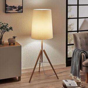 Trojnohá textilní stojací lampa Feyra kulatá