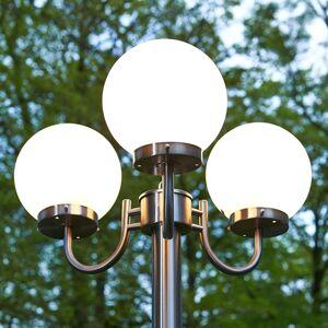 Pouliční svítilna Samuel s 3 skleněnými koulemi