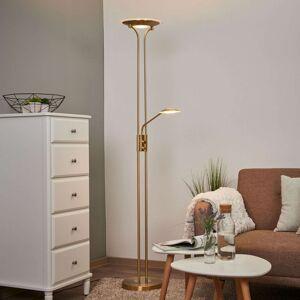 LED stojací lampa Aras s lampou na čtení, mosaz