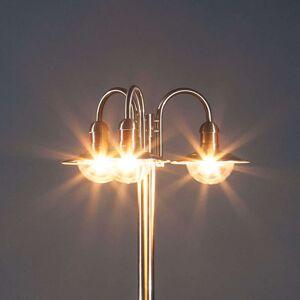 Pouliční svítilna Damion z nerezu, 3zdrojová