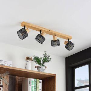 Lindby Lindby Evinora stropní reflektor, dřevo, 4zdrojový