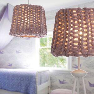 EULUNA Stolní lampa Dolly, pletené stínidlo, starorůžová